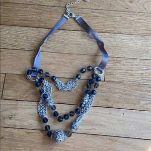 Vintage inspired blue & silver necklace